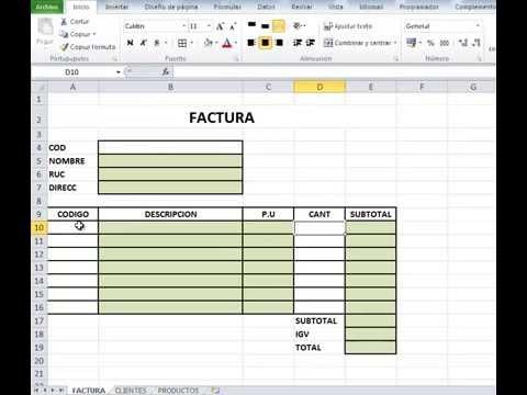 Trabajando una Factura en Excel 2010 Funcin BUSCARV YouTube