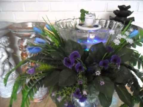 Fuente o pileta de agua para interiores con pedestal de angeles plantas y luz youtube - Plantas interiores ...