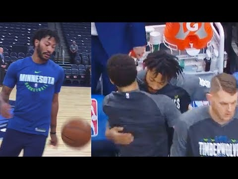 Derrick Rose Greets New Timberwolves Teammates After Warm Up in Debut!