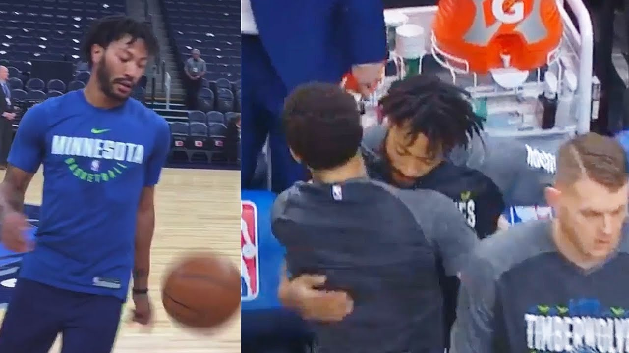 e8c8d614330 Derrick Rose Greets New Timberwolves Teammates After Warm Up in Debut!