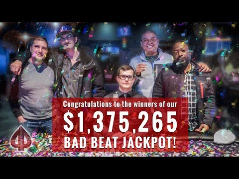 Playground Poker Club - $1,375,265 Bad Beat Jackpot Hits