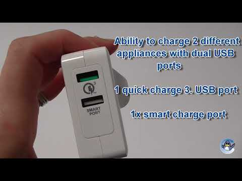 Sumvision Smart Port Dual Port USB Charger 30 Watts Quick Charge 3.0
