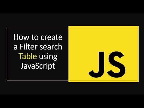Filter Table Using JavaScript