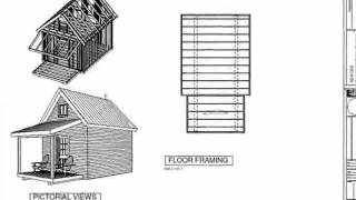 PDF Barn Plan - #226 12' X 14' X 8', Bunk Cabin Plan