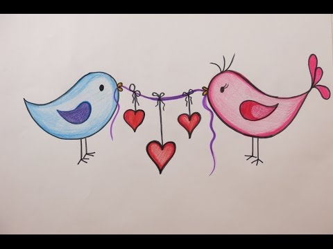 Valentine's Day DIY: How to Draw Love Birds Holding Hearts on Valentine's Day