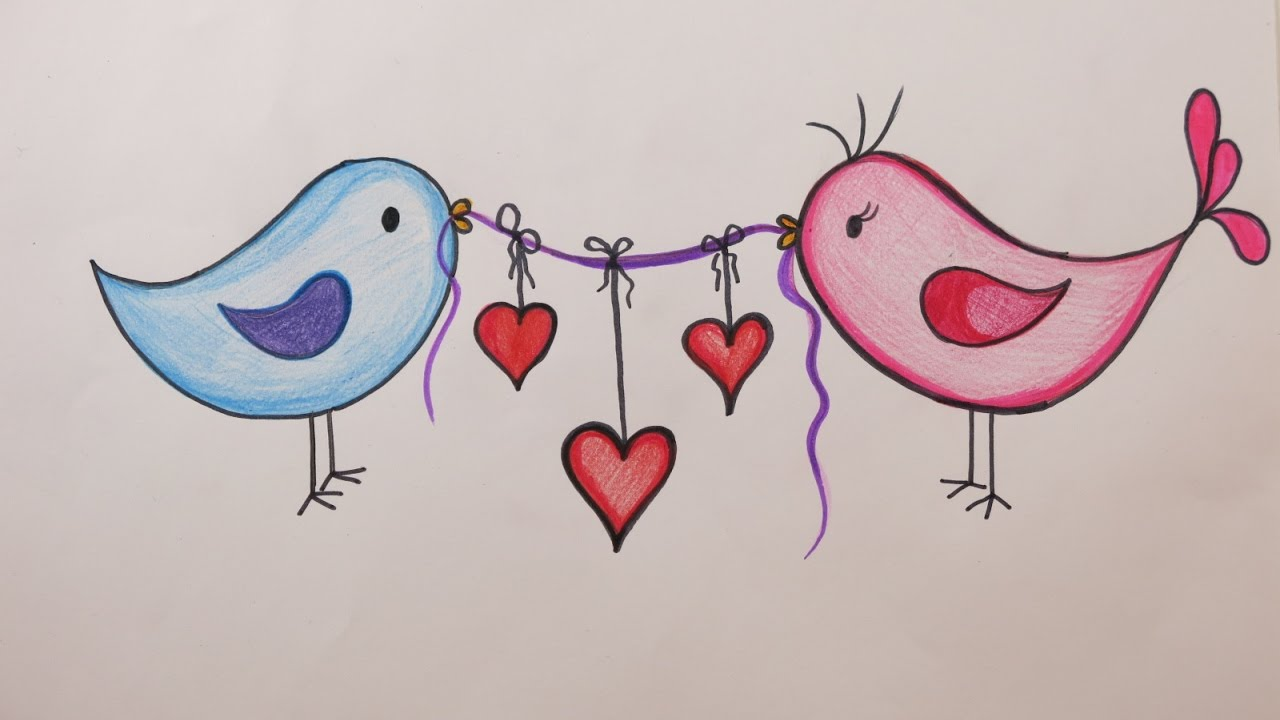 Valentine's Day DIY: How to Draw Love Birds Holding Hearts ...