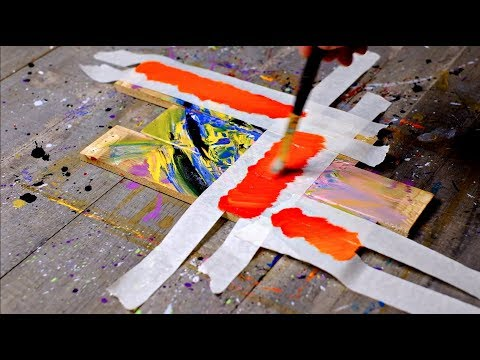 Abstract Painting Easy With Masking Tape On Tree Woods
