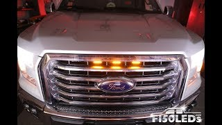 HOW TO INSTALL 2015-18 F150 RAPTOR STYLE LED GRILL LIGHTS F150LEDS.COM