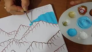minyatürde suluboya ile dağlar ve kayalar nasıl yapılır