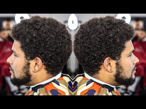 BARBER TUTORIAL: MID FADE CURLY TOP BEARD LINE UP