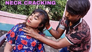 Face, Head & Shoulder massage of beautiful indian Girl | Back & Neck cracking | ASMR