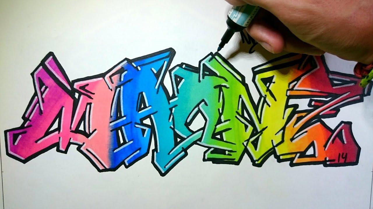 Graffiti en papel con colores arcoiris  YouTube