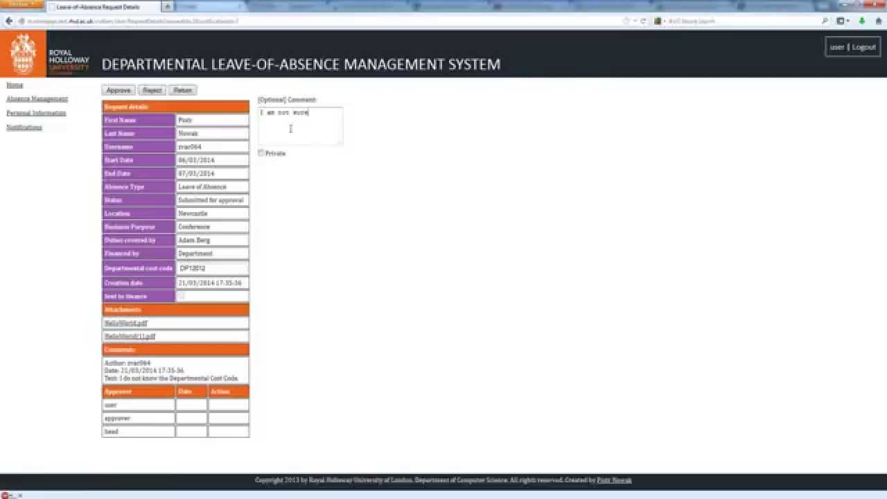 ASP NET MVC 4 - RHUL Leave of Absence Management System