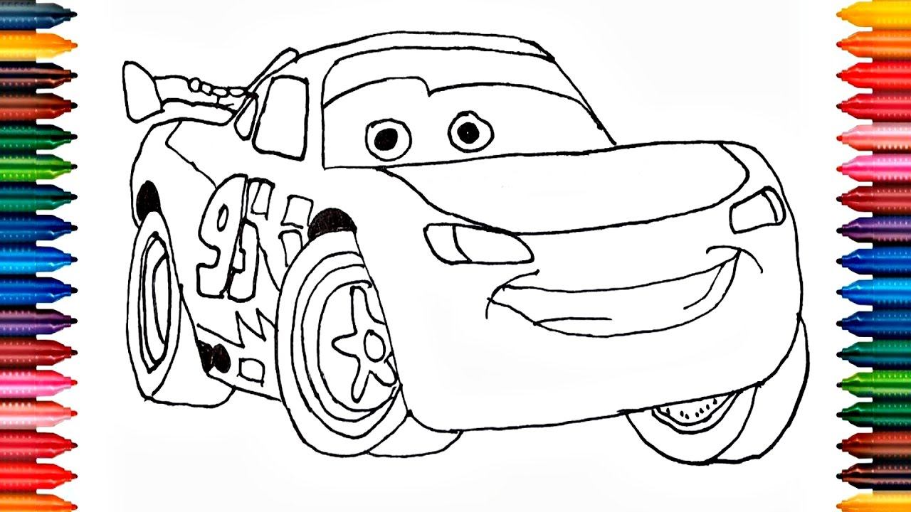 Car Mcqueen Coloring Book Fun Painting Learning Colors Drawing Lightning Page