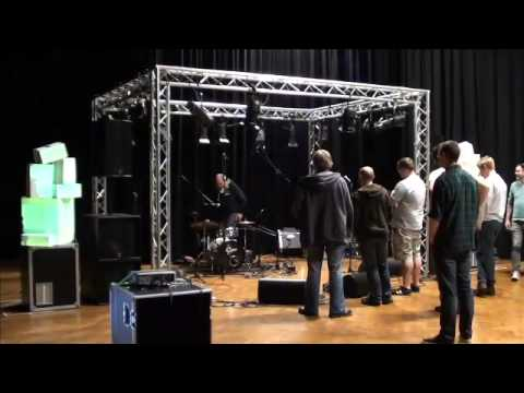 Pre event setup - sound check / line check / flash out / video mapping finalising