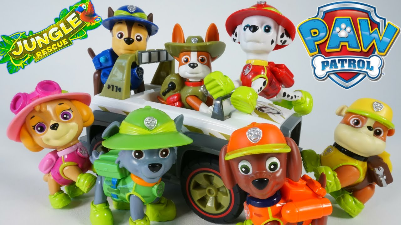 PAW PATROL NEW PUP TRACKER JUNGLE RESCUE VEHICLES CHASE