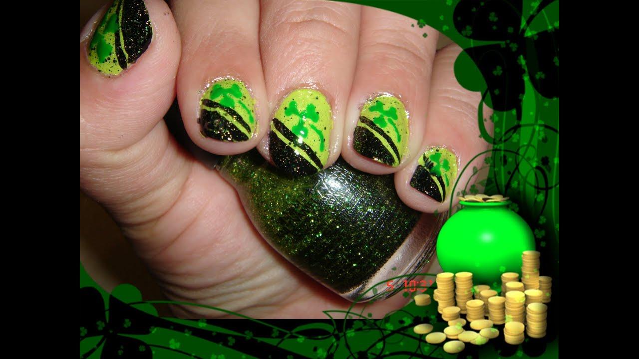 Easy design nails St. Patrick\'s Day/Sencillo diseño de uñas para dia ...