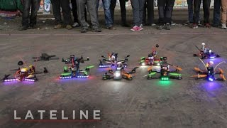 Drone racing: First Person View (FPV)(At an abandoned warehouse in Melbourne's west, about 30 drone racers have spent hours custom building their multi-rotor machines and fitting them with ..., 2015-06-11T07:10:02.000Z)