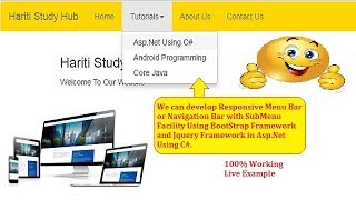 Responsive Menu Bar with Submenu Using BootStrap Jquery in Asp Net C Hindi Free Online Classes