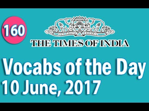 The Times of India Vocabulary (10 June, 2017) - Learn 10 New Words with Tricks | Day-160