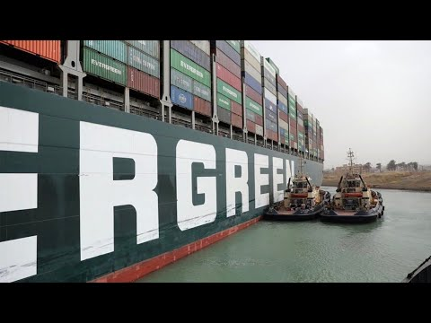Container ship in the Suez Canal is set free