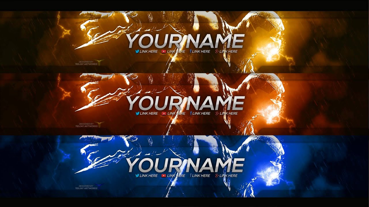 New Free Gaming YouTube Banner Template PSD Download - YouTube