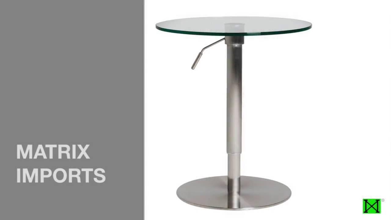 KRIB STAINLESS ADJUSTABLE PUB TABLE