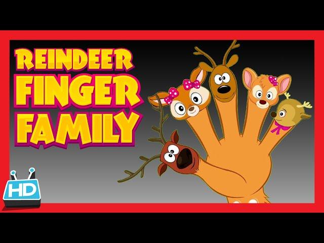 FINGER FAMILY Nursery Rhyme with Lyrics (Reindeer Family)