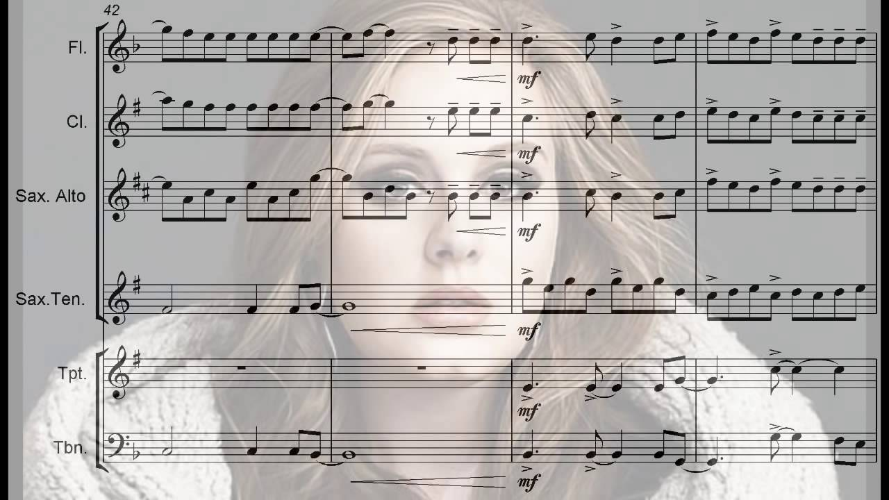 Adele set fire to the rain arrangement for flute sax trumpet adele set fire to the rain arrangement for flute sax trumpet trombone and clarinet hexwebz Choice Image