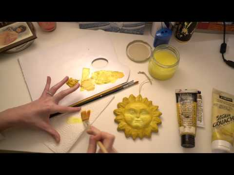 ASMR Painting Papier-Mâché Sun | Very Quiet Whispering | Acrylic & Wash Paint