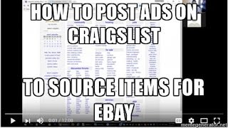 How To Post An Ad On Craigslist For Ebay Sourcing - Thrifting, Buying Phones, Etc..