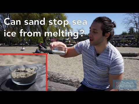 How can sprinkling sand atop sea ice stop it from melting?