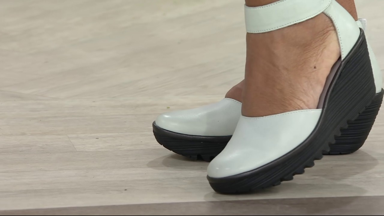fly london leather closed toe wedges yand on qvc youtube