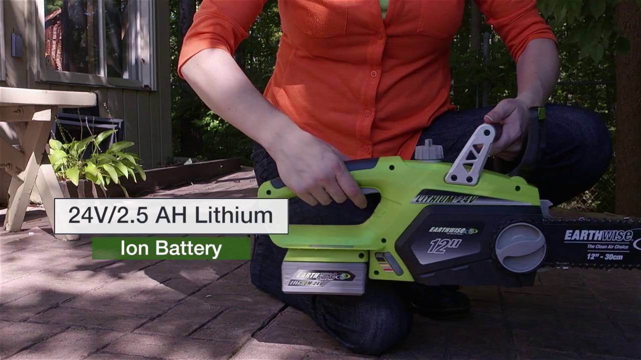 Earthwise 24 volt lithium cordless chain saw youtube earthwise 24 volt lithium cordless chain saw greentooth Gallery