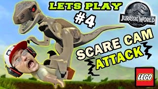Lets Play LEGO Jurassic World Part 4: RAPTOR SCARE CAM ATTACK! (RESTORE POWER LEVEL GAMEPLAY)