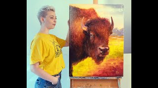 Bison oil painting   Step by step