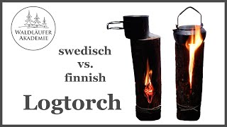 Schwedenfeuer vs. Finnenkerze - swedich fire vs. finnish log torch