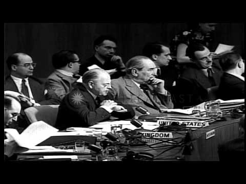 Warren Austin, Ambassador from the United States in UN General Assembly proposing...HD Stock Footage