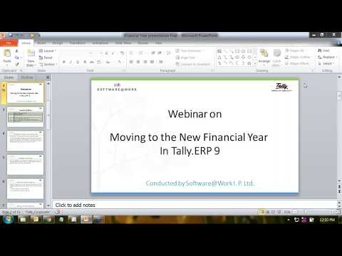 Moving to the New Financial Year in Tally ERP 9