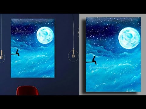 Step by Step acrylic painting on canvas for beginners | Full moon night painting techniques