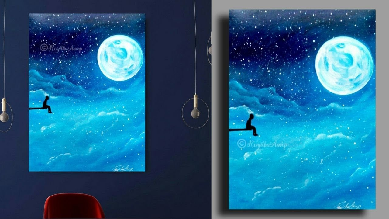 Step By Acrylic Painting On Canvas For Beginners Full Moon Night Techniques Youtube