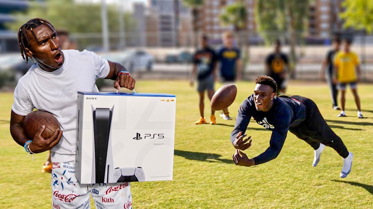 Download LAST TO DROP A PASS WINS A PS5! (D1 COLLEGE FOOTBALL PLAYERS)