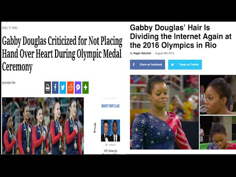 Gabby Douglas receives backlash during the national anthem/Twitter GOES IN on gabby & Simone's hair