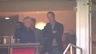 Peyton Manning watches his brother Eli from the box