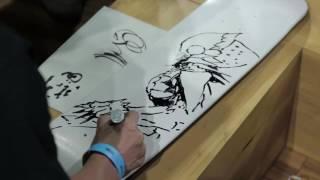 Watch Tsutomu Nihei draw Knights of Sidonia on a skateboard