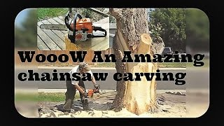 Amazing Talent With Chain Saw Carving