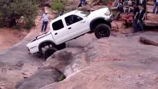 Tacoma on Z turn obstacle in Moab
