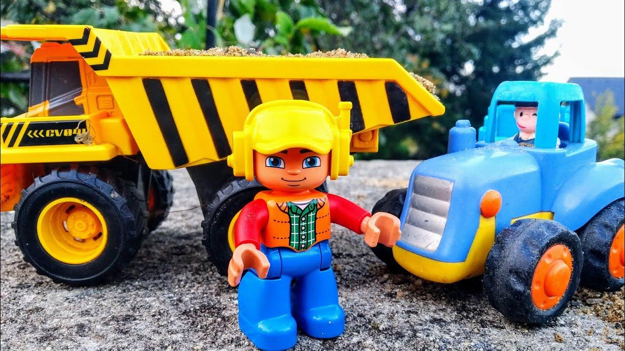 Мультики про машинки. Синий трактор и самосвал. Детские ...