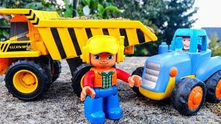 Мультики про машинки. Синий трактор и самосвал. Детские мультики. Машинки.