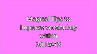 Magical Tips How to Learn English Vocabulary...Easy Tips Learn English Vocabulary..